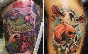 Tatuaje vaca y cocodrilo estilo New School